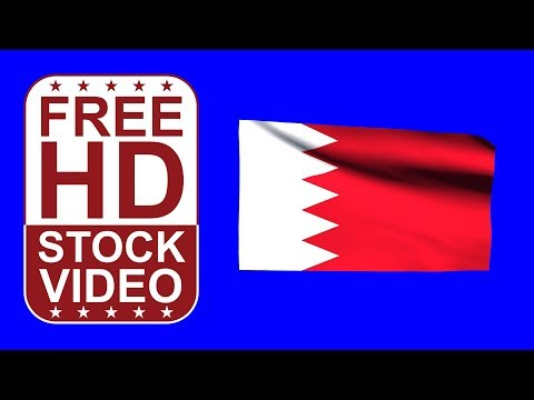 FREE HD video backgrounds – Bahrain flag waving on blue screen 3D animation