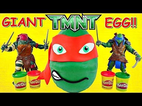Giant TMNT Surprise Egg Play Doh Teenage Mutant Ninja Turtle Huge Raphael Huevo Sorpresa