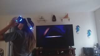 My Step-Sister Plays VR For The First Time (PS VR Worlds: Shark Encounter)