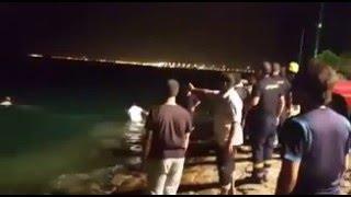 """""""بالفيديو"""" مركبة بوضع التشغيل في ينبع تسقط بعائلة في البحر بعد عبث أحد الأبناء ووفاة الأم وطفلها"""