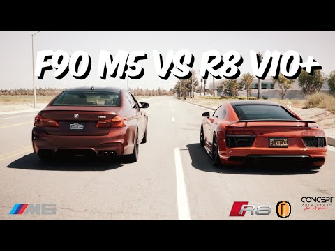 FRESHKICKS R8 V10+ Vs F90 M5 - DRAG/ROLL RACE -