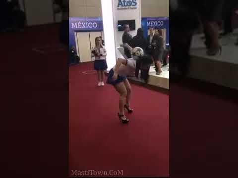 Girl in short Mini Skirt has amazing FIFA skills