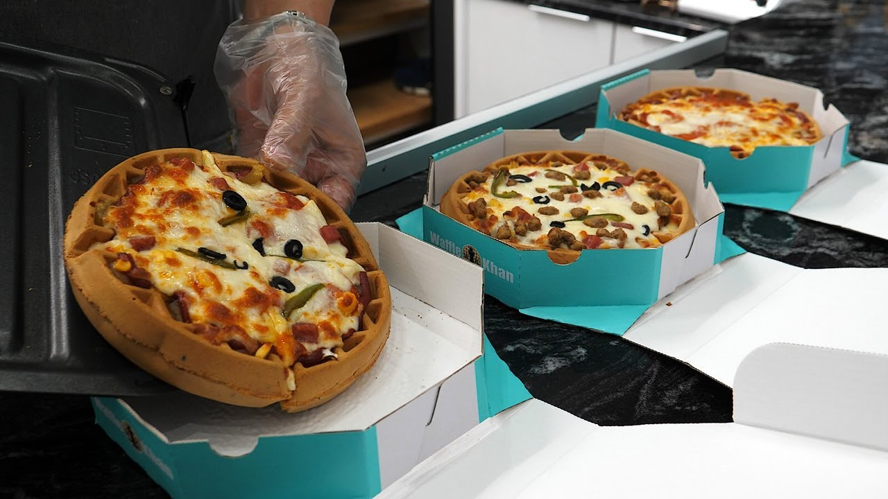 Pizza Waffle (Combination, Bulgogi, Pepperoni) - Korean Street Food