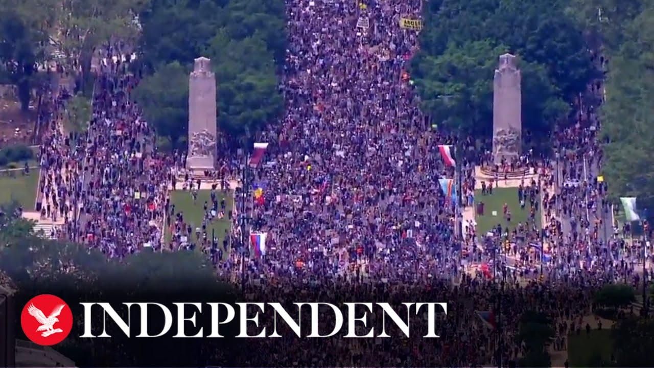 Aerial footage shows massive turnout for Black Lives Matter ...