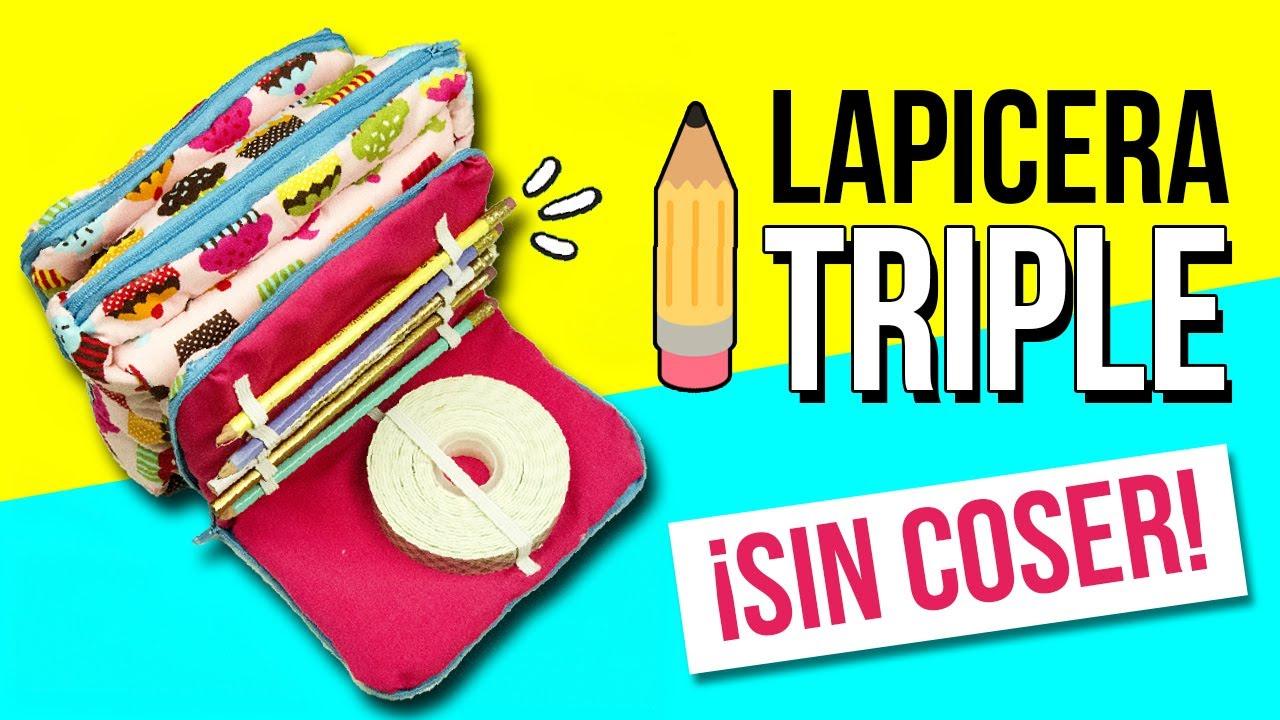 Haz un estuche triple sin coser lapicera o cartuchera - Colgador de tela con bolsillos ...