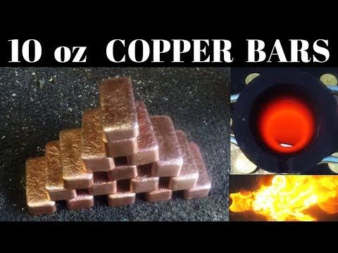 Pouring 10oz Copper Bars from scrap copper wire