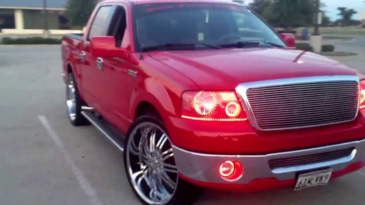 26 Inch Rims And Red Halos On Ford F150 07 Youtube