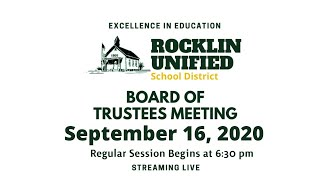 Rocklin Unified School District Board of Trustee's Meeting - Closed Caption details below