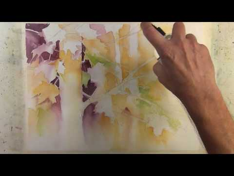 """""""Autumn in the trees"""" Narrated Step by Step Negative Painting Tutorial"""