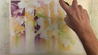 """Autumn in the trees"" Narrated Step by Step Negative Painting Tutorial"