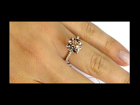 3 carat Cushion Cut Morganite Engagement Ring