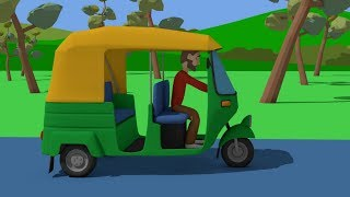 A green Rickshaw and a trip around India - Video for Kids and Babies | cartoons vehicles - Bajki