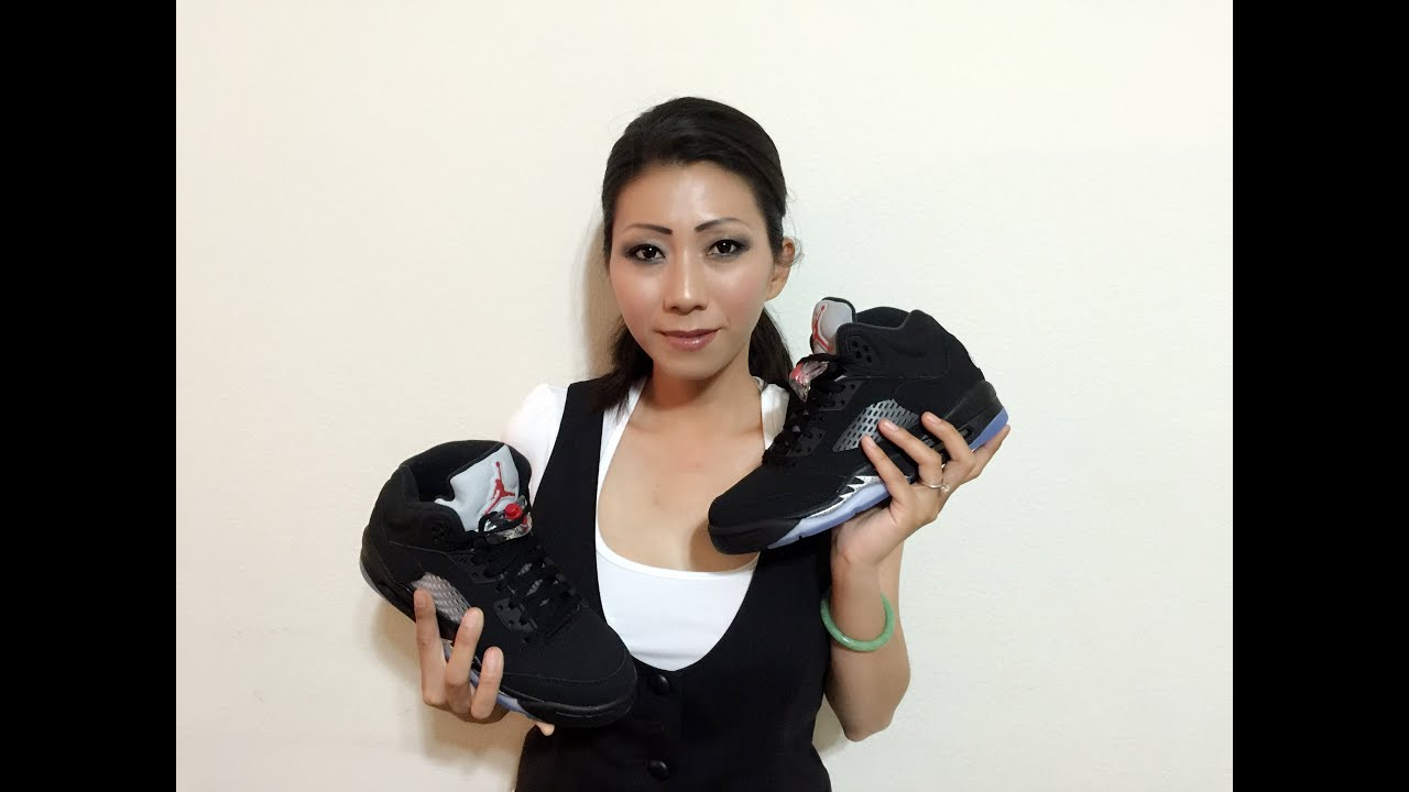 3b73ba698157 Wife s Jordan Retro 5 OG Black Metallic Silver unbox and on feet review 2016