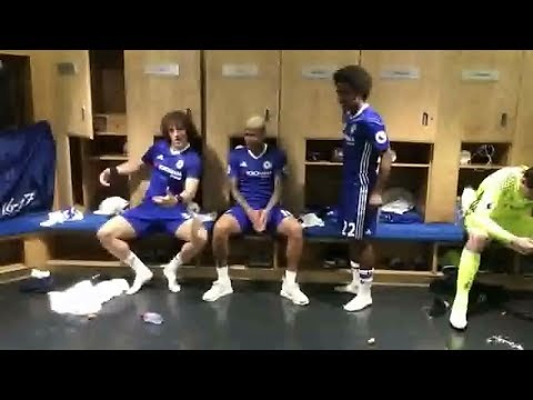 David Luiz,  William,  Eden Hazard, Diego costa and many others  dancing in the Dressing Room