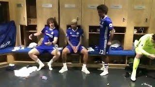 David Luiz  William  Eden Hazard Diego costa and many others  dancing in the Dressing Room