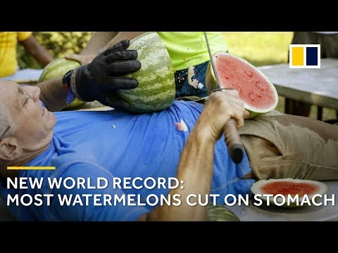 Bizarre world record: 26 watermelons sliced on stomach in one minute