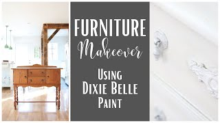 Dixie Belle Furniture Makeover ~ Dixie Belle Paint Tutorial ~ Buffet Makeover ~ Painted Furniture