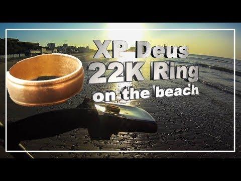 xp deus on the beach 22k GOLD RING Bournemouth beach metal