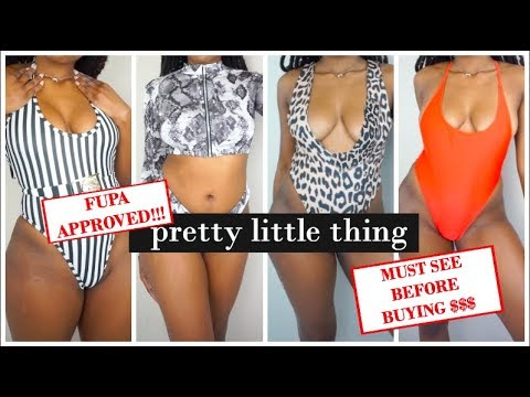 MUST SEE BEFORE BUYING! || Slim Thick PrettyLittleThing Summer Bathing Suit Haul || FUPA Approved