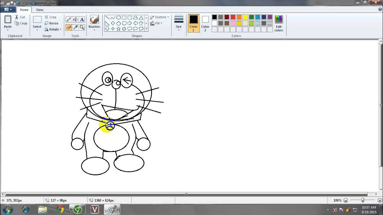 Cách vẽ Đoraemon bằng Paint (Hơi xấu đừng chê nha :)))))) )