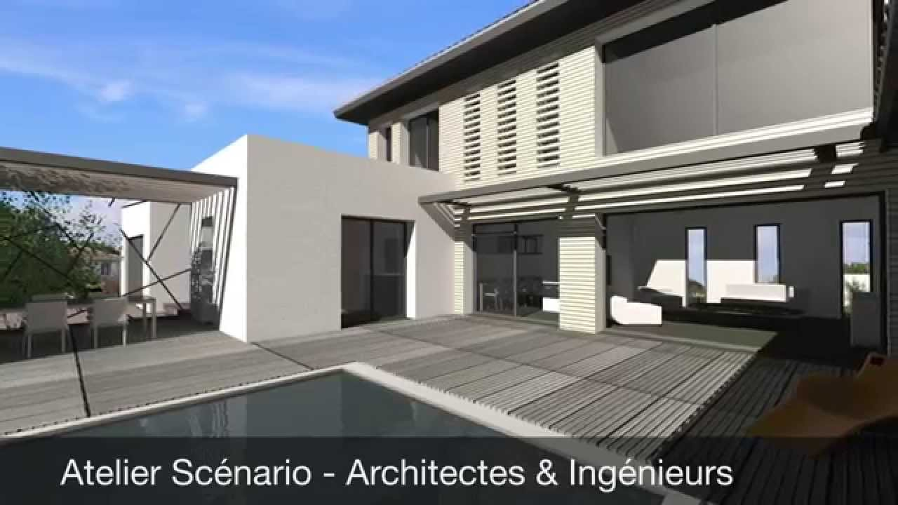 Maison contemporaine mix toit terrasse et tuiles toulouse youtube for Photo maison contemporaine