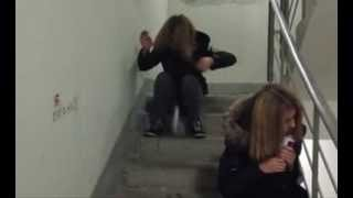 Stupid Junkie Girl Falling Down to Stairs