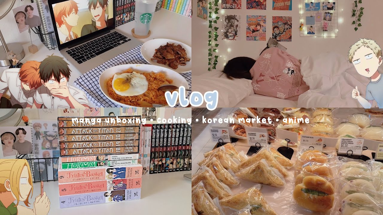 manga unboxing, cooking, korean market, chill day at home, anime | vlog