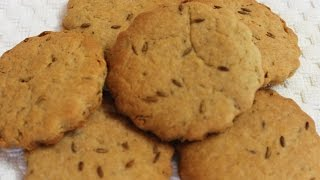 Eggless Whole Wheat Cumin Cookies / Jeera Biscuits | Healthy & Easy To Make Tea Time Snacks