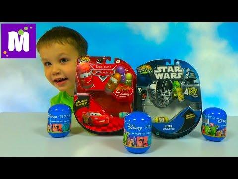 видео: Крутые Бобы Звёздные Войны и Тачки Дисней игрушки гонки по треку