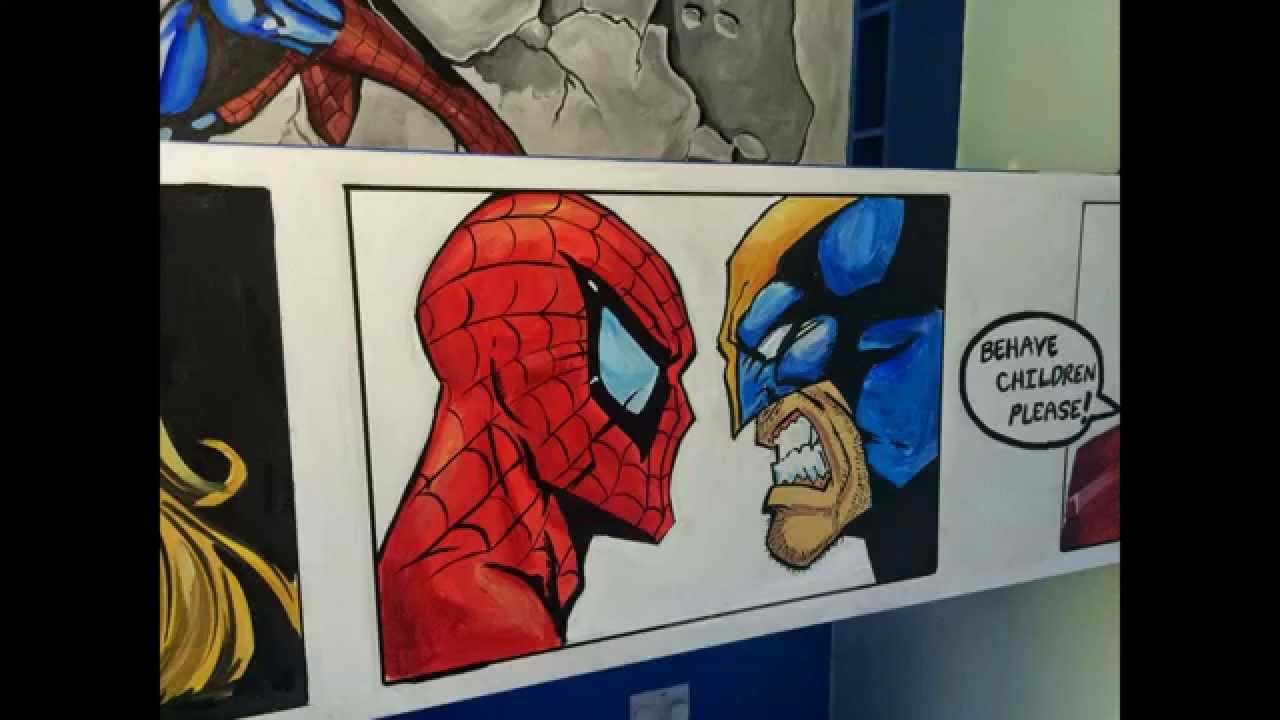 Marvel comic mural room by drews wonder walls ft spider man youtube