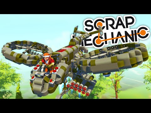 Scrap Mechanic CREATIONS - ARMY HELICOPTER, POD RACER, BATMOBILE and MORE!