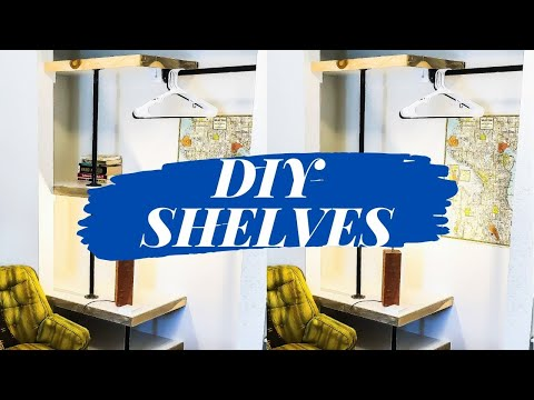 DIY PLYWOOD PIPE COMBO CLOSET SHELVES // How To