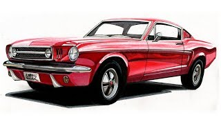 Realistic Car Drawing - 1965 Ford Mustang GT Fastback - Time Lapse