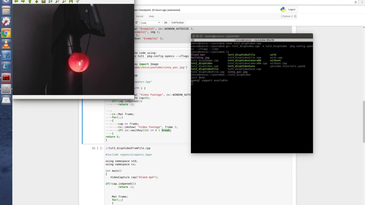 OpenCV C++ on Linux Tutorial 3 - How to capture video from webcam