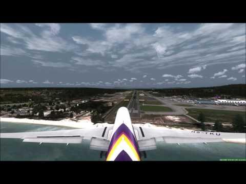 Crosswind Landing Phuket THAI 777-300ER [Speed Brakes Failure] FSX