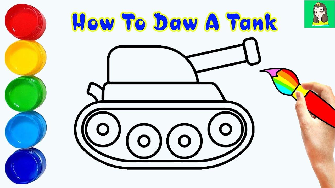 Cách vẽ xe tăng đơn giản nhất | How to draw a tank | TA Art | Tổng quát các kiến thức về vẽ xe tăng đơn giản đúng nhất