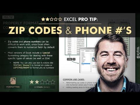 EXCEL PRO TIP: Zip Codes & Phone Numbers