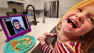 Adley Learns how to CALL ME!! Funny Family facetime and crazy travel routine (kids make pancake art)