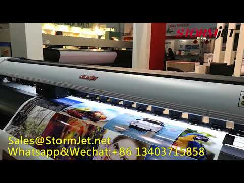 Stormjet 1.8m double DX5 heads eco solvent printer in Iran exhibition