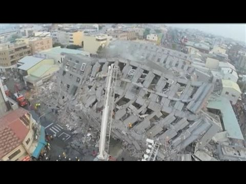 Aerial: Damage After Strong Earthquake Hits Taiwan