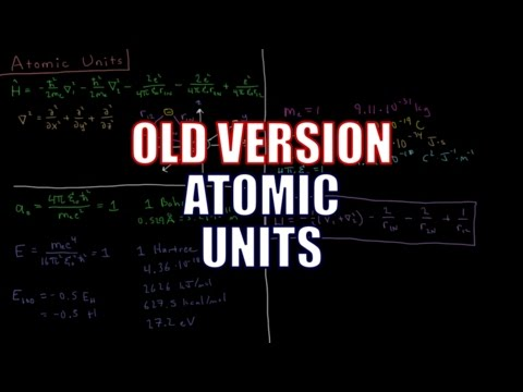 Quantum Chemistry 9.1 - Atomic Units (Old Version)