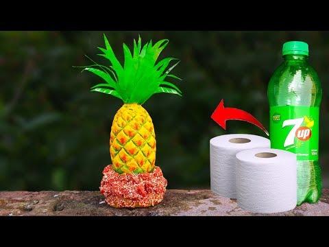 বোতল আর টিস্যু দিয়ে আনারস তৈরি    Pineapple With Tissue Plastic Bottle    Paper clay