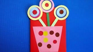 Букет цветов. Открытка на день рождения маме своими руками. Детская аппликация из цветной бумаги.(В этом видео смотрите, как сделать открытку на 8 марта из цветной бумаги и картона своими руками. Такая аппли..., 2016-02-28T11:43:22.000Z)