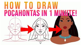 HOW TO DRAW DISNEY PRINCESS CHARACTERS FOR BEGINNERS - POCAHONTAS - EASY