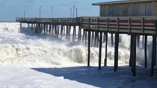 3-5-18 Huge Waves hitting Jennette's Pier and Outer Banks Fishing Pier