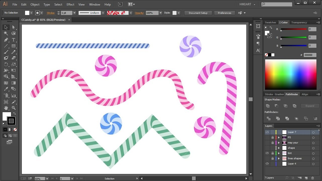 How To Create A Candy Cane Pattern Brush In Adobe Illustrator Part