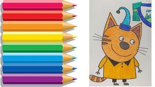 Три Кота | Раскраска | Мультфильмы для детей | Рисуем