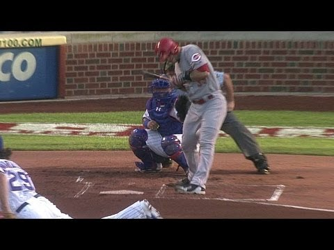 Mesoraco gets drilled twice on one pitch