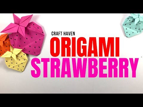 Cute Origami Strawberry - DIY Paper Fruit Strawberry Tutorial - HowTo
