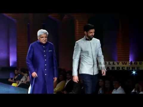 Farhan Akhtar With Dad Javed Akhtar Ramp Walk - 5th Annual Mijwan Fashion Show By Manish Malhotra